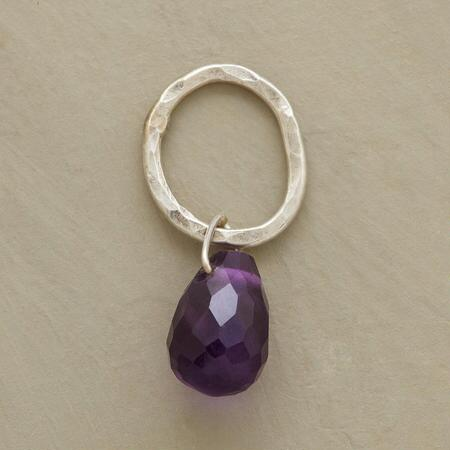 Sterling Faceted Birthstone Charms - Amethyst