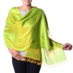 Varanasi silk shawl, 'Banaras Yellow'