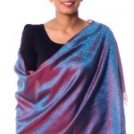 Varanasi silk shawl, 'Feminine Flair'