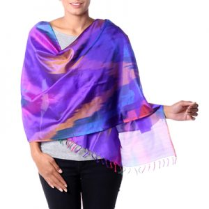 Varanasi silk shawl, 'Festive Color Fusion'