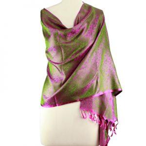 Varanasi silk shawl, 'Olive Grove'