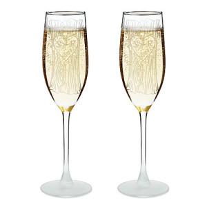 Etched Champagne Flutes - Set of 2
