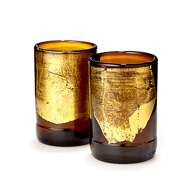 Gold Leaf Upcycled Beer Bottle Tumbler Set