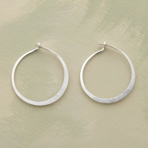 Small Hand Forged Sterling Hoop Earrings