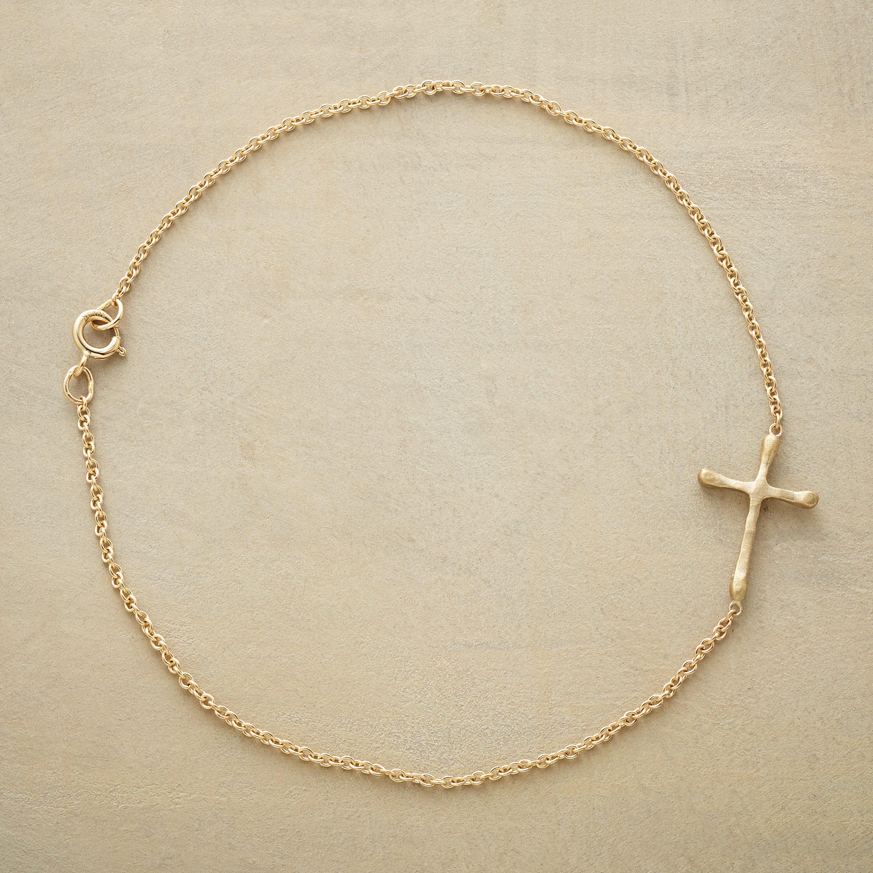 Gold Linked Cross Bracelet