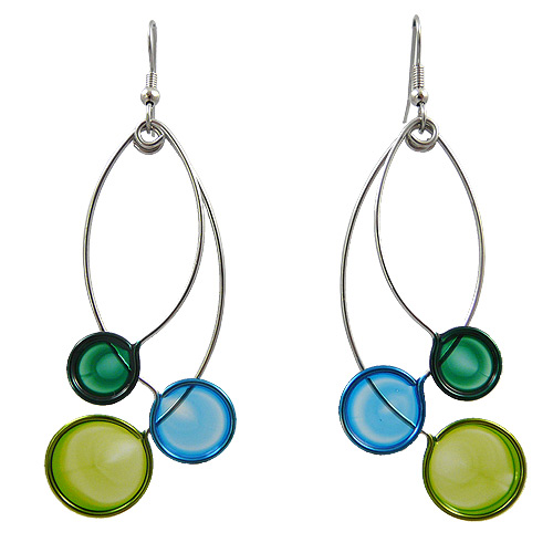 Kinetic Sculpture Inspired Earrings: Blue Green Trio