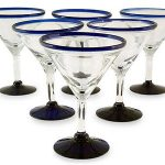 Handblown Glass Recycled Blue Rim Martini, 'Cobalt Joy' (Set of 6)