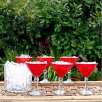 Red Hand Blown Martini Glasses, 'Ruby Red' (Set of 6)