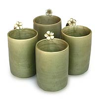 Ceramic mugs, 'Frangipani Brew' (set of 4)