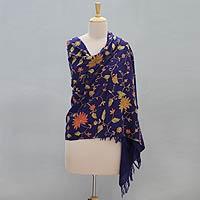 Wool shawl, 'Daisy Dream'