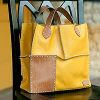 Leather handbag, 'Urban Safari in Yellow'
