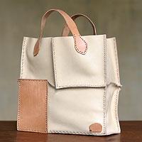 Leather handbag, 'Urban Safari in Ivory'