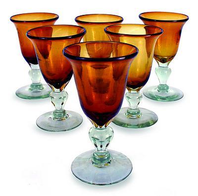 Hand Blown Goblets Glasses, 'Golden Amber' (Set of 6)