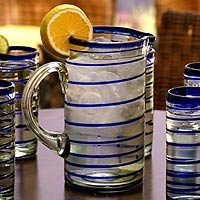 Glass pitcher, 'Tall Cobalt Spiral'
