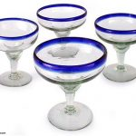 Margaritas Handblown Glass Blue Cocktail Drinkware, 'Happy Hour' (Set of 4)