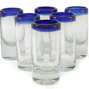 Handblown Recycled Glass Blue Rim Shot Glasses, 'Tequila Blues' (Set of 6)
