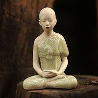 Celadon ceramic statuette, 'Concentration'