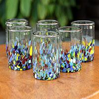 Blown glass tumblers, 'Confetti' (set of 6)