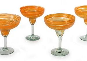 Handcrafted Handblown Glass Margarita Cocktail Drinkware, 'Butterscotch Swirl'