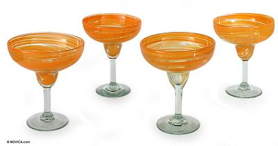 Handcrafted Handblown Glass Margarita Cocktail Drinkware, 'Butterscotch Swirl'