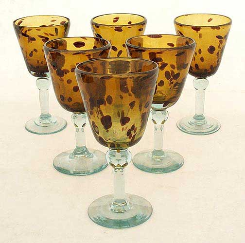 Handblown Wine Glasses, 'Tortoise Shell', (Set of 6)