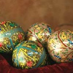 Ornaments, 'Turquoise Garden Fantasy' (set of 4)