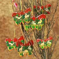 Wood ornaments, 'Forest Butterflies' (set of 6)