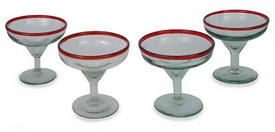 Mexican Handblown Glass Red Rim Margarita Drinkware Set, 'Ruby Afternoon'