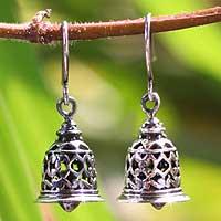 Sterling silver dangle earrings, 'Temple Bell'