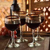 Blown glass wine glasses, 'Amber Globe' (set of 4)