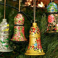 Wood ornaments, 'Holiday Melody' (large, set of 4)