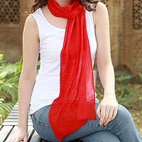 Wool scarf, 'Smart in Scarlet'