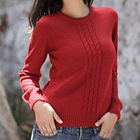 Alpaca sweater, 'Fire'