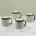 Ceramic mugs, 'Sierra Wonders' (set of 4)