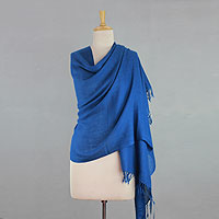 Angora wool shawl, 'Azure Meditation'