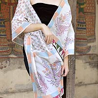 Cotton and Chanderi silk shawl, 'Tulip Paradise'
