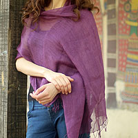 Linen shawl, 'Sheer Amethyst'