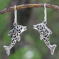 Sterling silver dangle earrings, 'Dolphin Song'