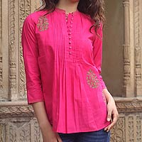 Cotton blouse, 'Bengali Rose'
