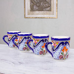 Talavera ceramic mugs, 'A Taste of Mexico' (set of 4)