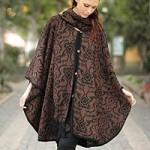 Alpaca blend ruana cloak, 'Piura Flora'