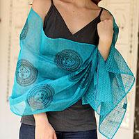 Cotton and silk shawl, 'India Sun'