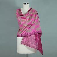 Cotton and silk shawl, 'Festive Diwali'