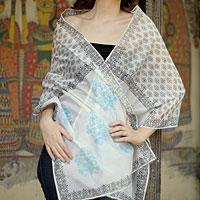 Cotton and silk shawl, 'Myriad Bouquets'