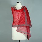 Cotton and silk shawl, 'Blossoming Fire'