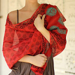 Cotton and silk shawl, 'Blossoming Flowers'