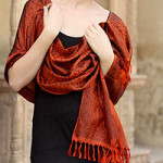 Banarasi silk shawl, 'Orange Noon'