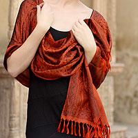 Banarasi silk shawl, 'Orange Noon'