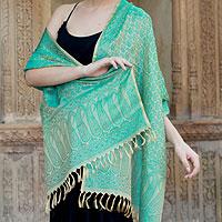 Banarasi silk shawl, 'Aqua Twilight'