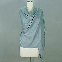 Wool and silk shawl, 'Delicately Yours'